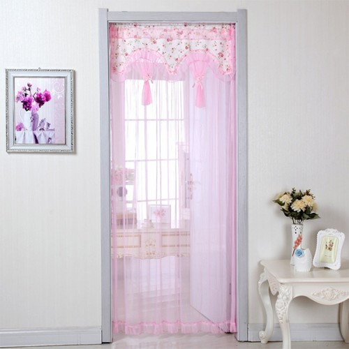 Thin See Through Acrylic Floral Curtain - Pink
