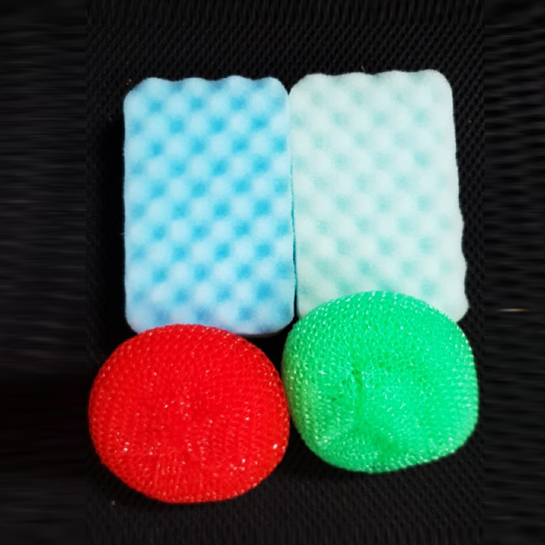Multi Shaped Four Pieces Dish Washing Sponge Set