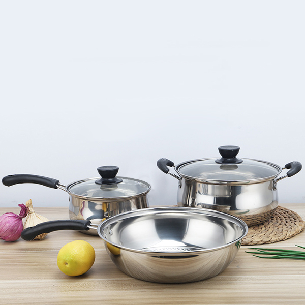 Heavy Duty Stainless Steel Three Pieces Cookware Set