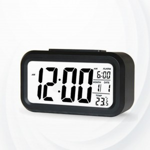 Creative Digital Round Corner Table Alarm Digital Clock - Black