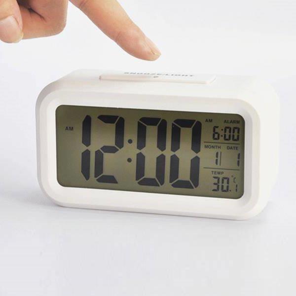 Creative Digital Round Corner Table Alarm Digital Clock - White