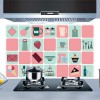 Square Pattern Printed Oil Resistant Wall Sticker - Multi Color