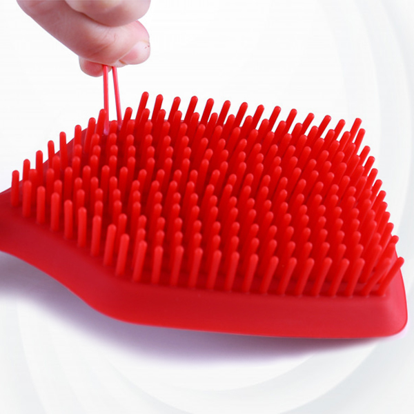 Dish Cleaning Silicon Handle Brush - Red