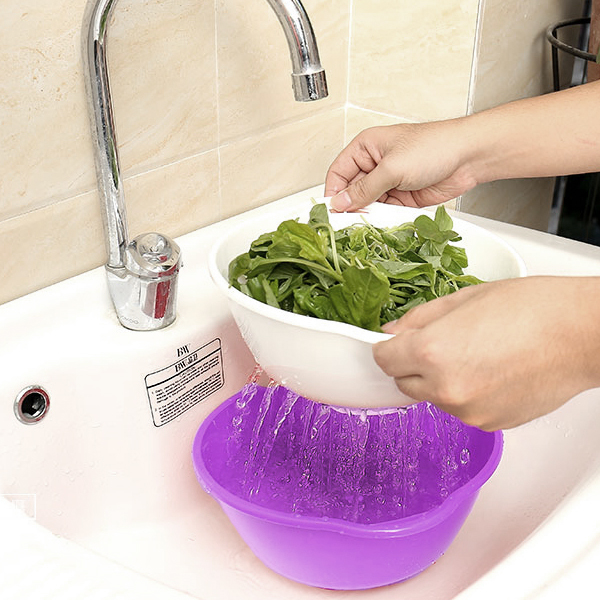 Three Pieces Quality Plastic Bowl With Sieve - Purple