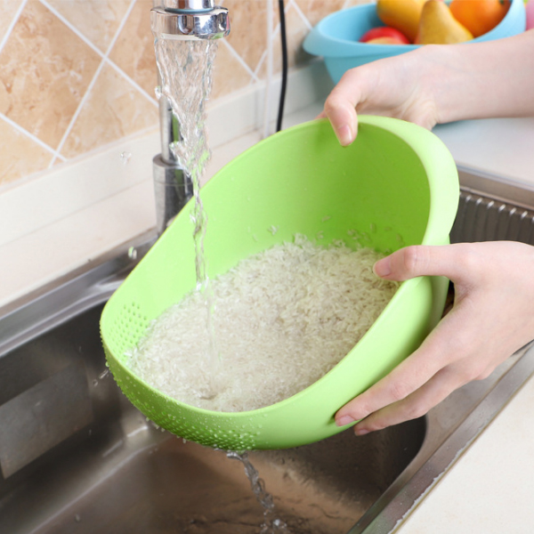 Quality Plastic Rice Washing Sieve Basket - Green