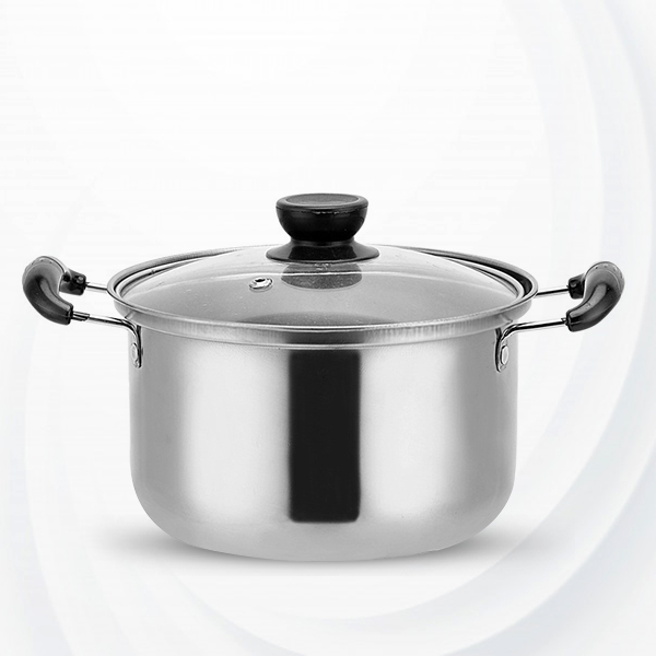 Glass Lit Stainless Steel Non-Sticky Cooking Pots