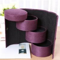 Foldable Three Layered Round Jewellery Storage Box - Purple