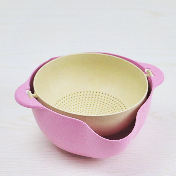 Easy Drainable Rice Bowl With Sieve - Pink