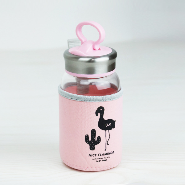 Flamingo Print Stainless Steel Cap Glass Water Bottle