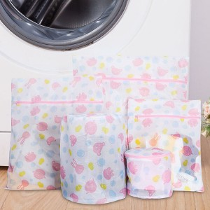 Five Pieces Cartoon Prints Laundry Bags