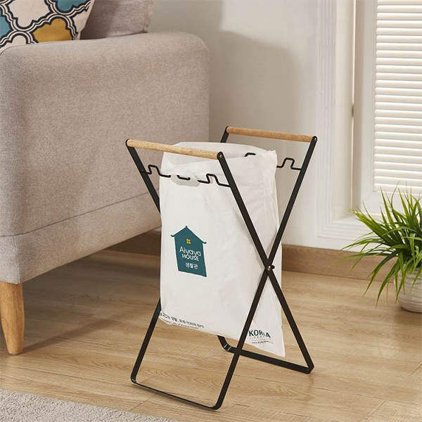 Foldable Garbage Bag Holding Rack - Black