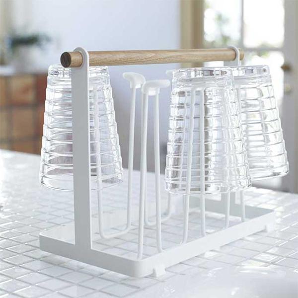 Wooden Handle Plastic Creative Kitchen Glass Holder Rack