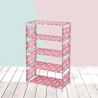 Printed Four Layered Space Saving Shoe Rack - Pink
