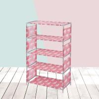 Printed Four Layered Space Saving Shoe Rack - Pink