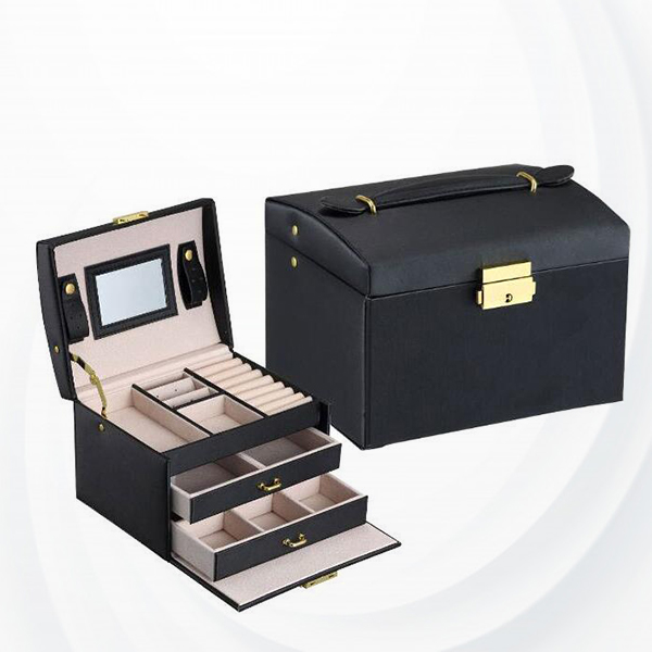 Three Layered Luxury Foldable Jewellery Box - Black