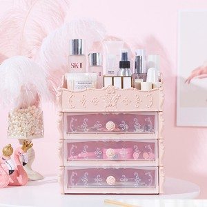 Four Layered Multi Purpose Storage Drawer Rack - Pink