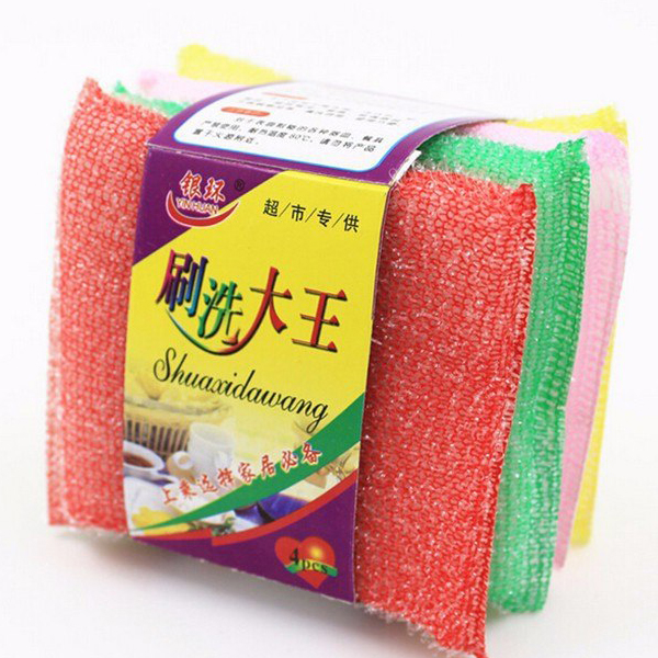 Four Pieces Colorful Dish Washing Scouring Pads Set