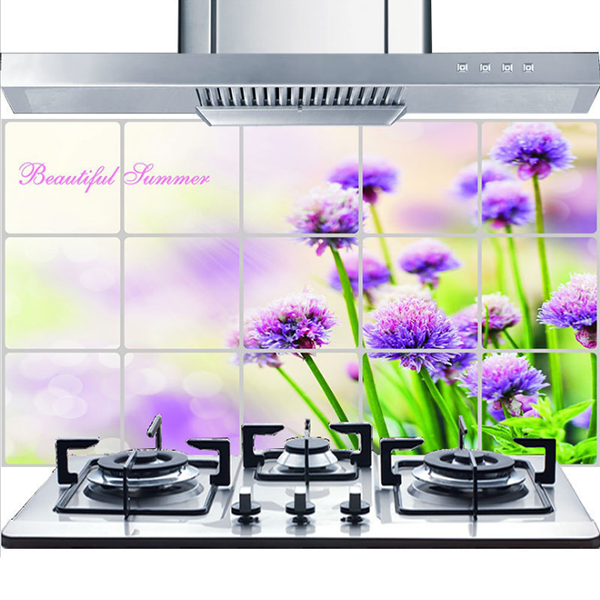 Floral Prints Oil Resistant Stove Wall Protector