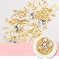 Star Moon Golden Nail Decorations Set