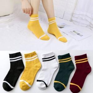 Five Pieces Dark Color Short Socks Set - Multicolor