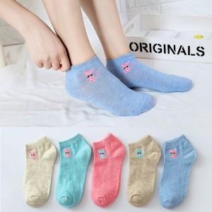 Five Pieces Kitten Prints Short Socks Set - Multicolor