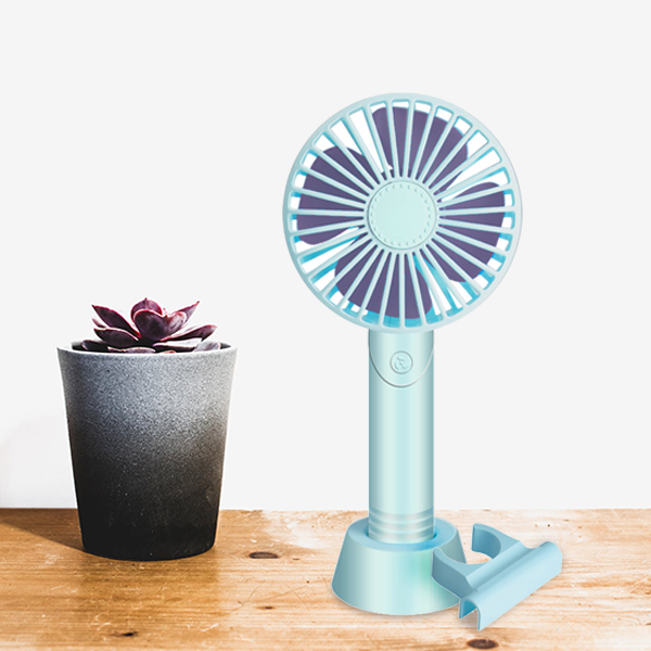Rechargeable Mini Fan With Phone Holder - Blue