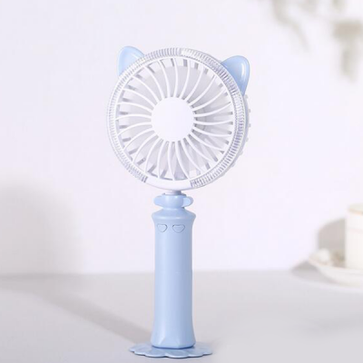 Silent LED Rechargeable Handy Fan - Blue
