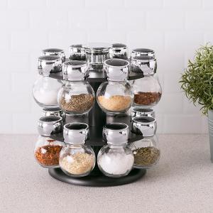 16 Pieces Glass Jar Spices Rack