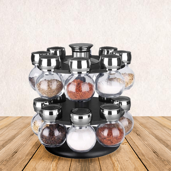 16 Pieces Glass Jar Spices Rack