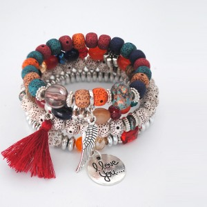 Multilayered Beads Decorated Bohemian Bracelets - Red