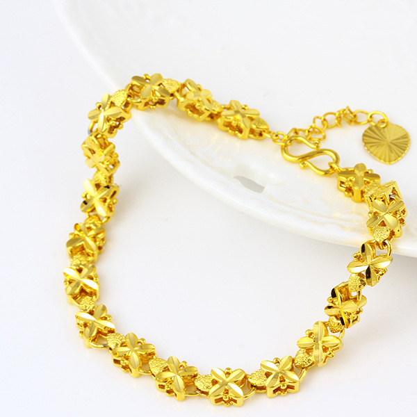 Gold Plated Floral Chain Hook Wedding Bracelet