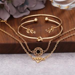 Four Pieces Gold Plated Bohemian Bracelets Set