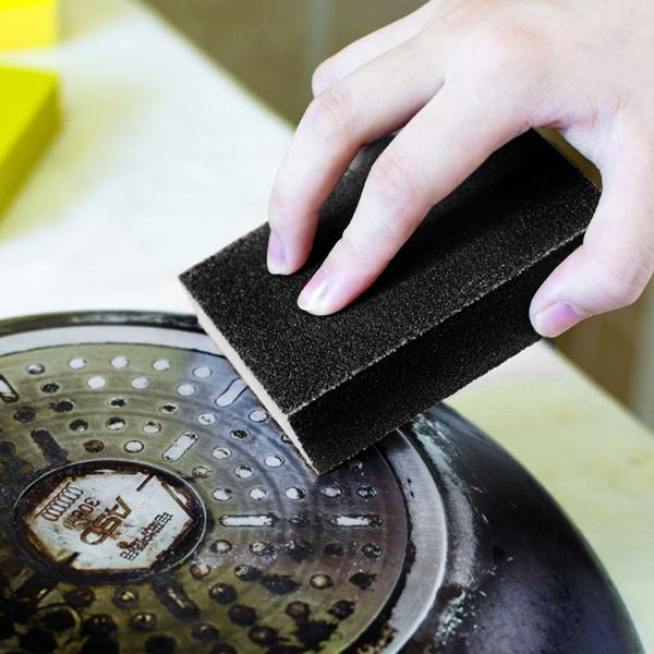 Kitchen Daily Use Magic Rust Wipe Sponge - Black