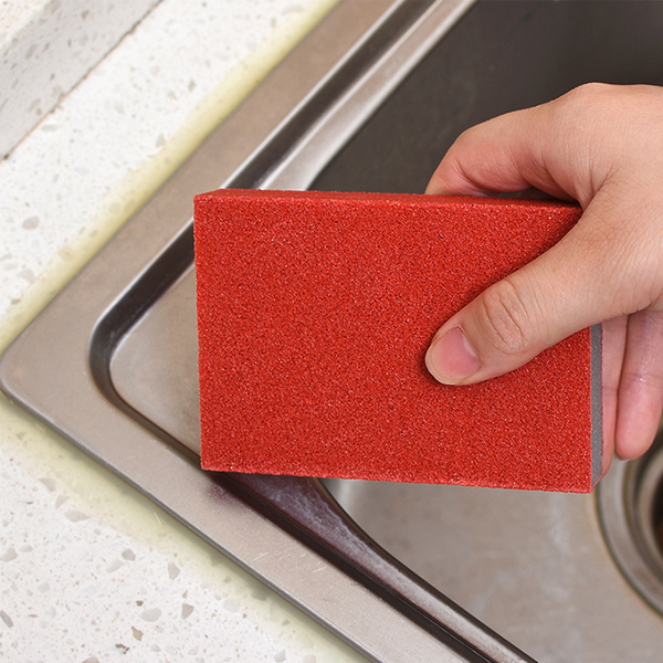 Kitchen Daily Use Magic Rust Wipe Sponge - Red