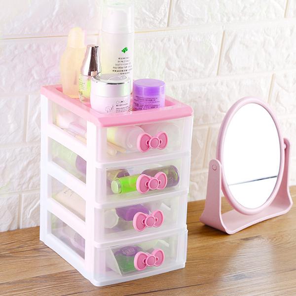 Four Layered Multi Purpose Mini Storage Drawer Rack - Pink