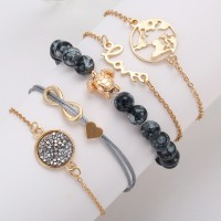 Five Pieces Multi Shaped Chain Bracelets Set