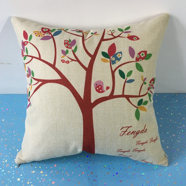 Soft Sofa Cushion Square Shape Pillow - Colorful Leaves Tree