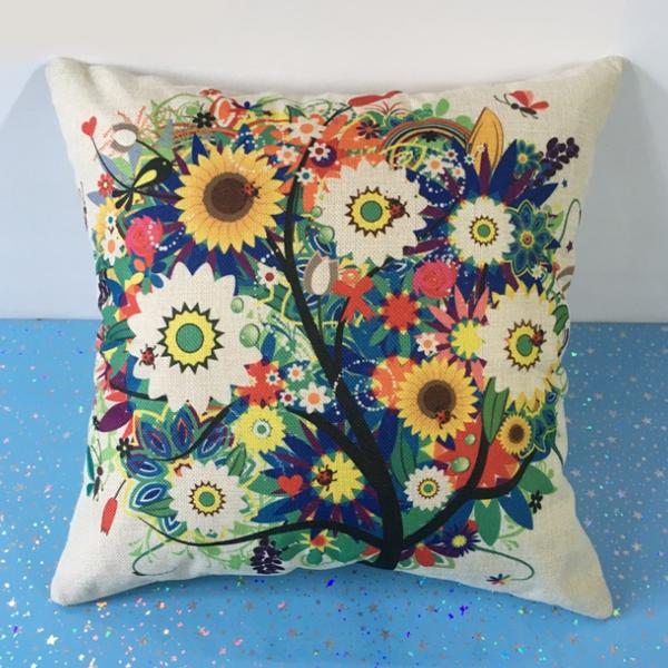 Soft Sofa Cushion Square Shape Pillow - Floral Prints