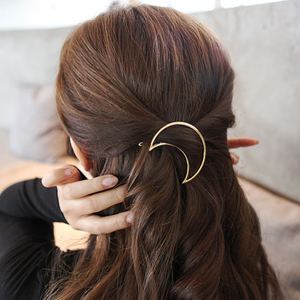 Comfortable Gold Plated Hair Clip - Moon