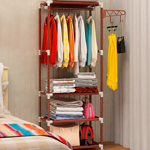 Three Layer Clothing Hanger With Racks - Brown