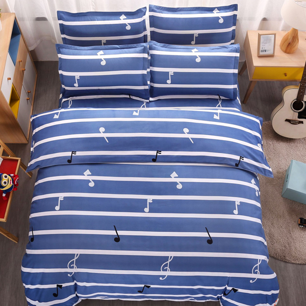 Four Pieces Striped Complete Bed And Pillow Cover Sheets