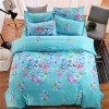 Floral Full Bed Sheet And Cushion Cover Set - Sea Green