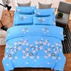 Four Pieces Floral Complete Bed Sheets And Pillow Cover - Sky Blue