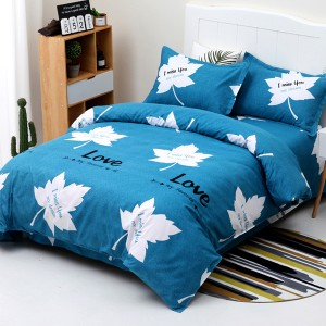Four Pieces Printed Complete Bed Sheets And Pillow Cover - Leaves