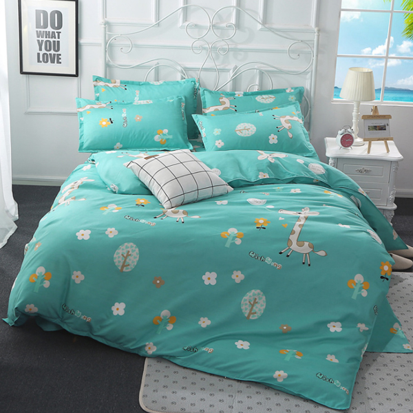 Flower Prints Bed Sheet With Quilt And Pillow Cover - Green