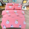 Rabbit Prints Bed Sheet With Quilt And Pillow Cover - Pink