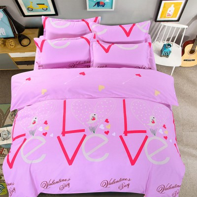 Love Prints Bed Sheet With Quilt And Pillow Cover - Pink