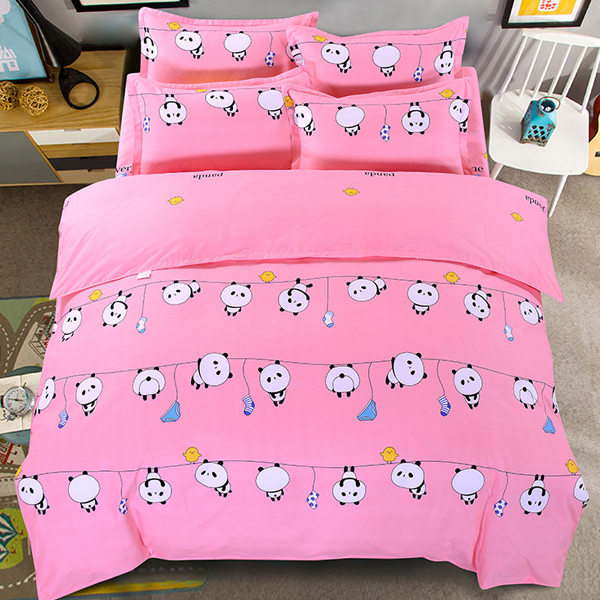 Panda Prints Bed Sheet With Quilt And Pillow Cover - Pink