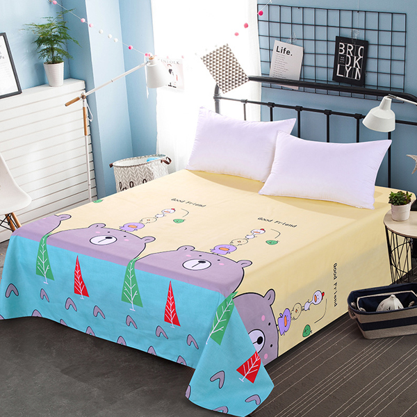 Bear Prints Quality Bed Cover Sheet - Yellow