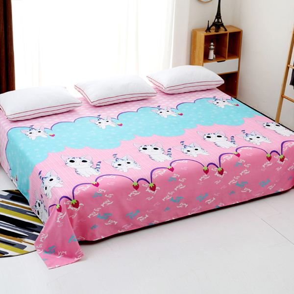 King Size Wide Space Bed Cover Sheet - Kitten Prints
